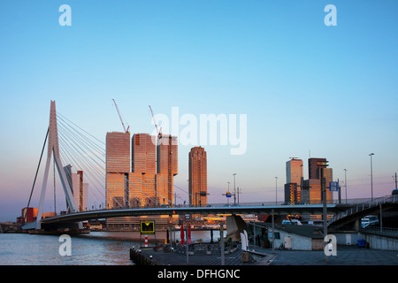 City of Rotterdam downtown at sunset in South Holland, Netherlands. - Stock Photo