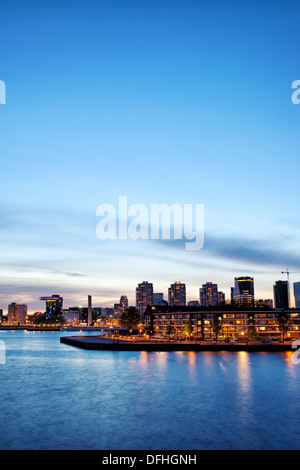 City of Rotterdam skyline at twilight in South Holland, Netherlands.