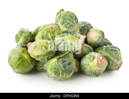 Fresh brussel sprouts isolated on a white background - Stock Photo