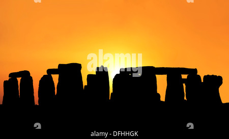 Sunset in the Stonehenge - Stock Photo