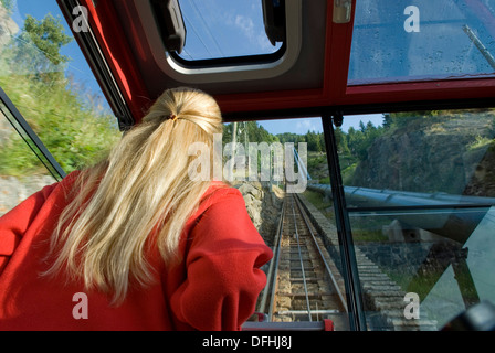 Ritom-Piora funicular, Canton Ticino, Switzerland, Europe - Stock Photo