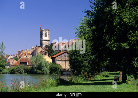 canal of Nivernais, Clamecy, Nievre department, region of Burgundy, center of France, Europe - Stock Photo