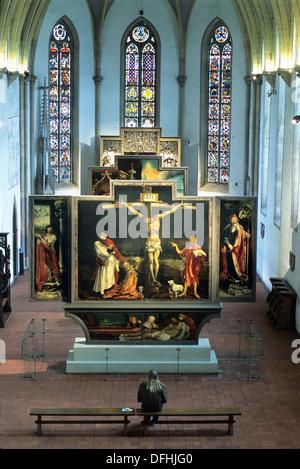 the Isenheim Altarpiece by Matthias Grünewald in the Unterlinden Museum, Colmar, Haut-Rhin department, Alsace region, - Stock Photo
