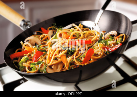 Stir Fry Noodles, peppers, mushrooms & carrots - Stock Photo