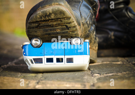 Boot squash on model camper - Stock Photo