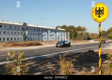 Open Border Crossing between Germany and Poland near Schwedt Oder, Brandenburg, Germany - Stock Photo