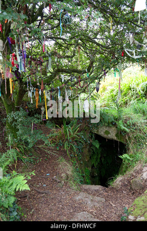 Holy well, with strips of cloth left on a wish tree by pilgrims, Sancreed, Cornwall