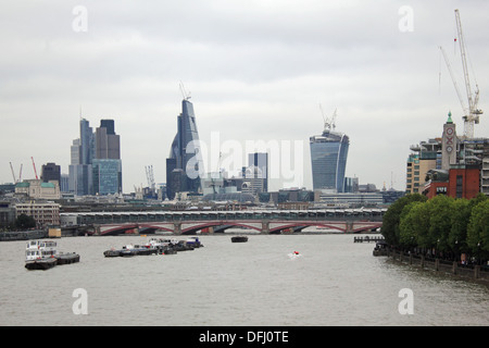 The city skyline on a grey overcast day in London England UK - Stock Photo