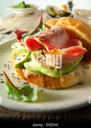 Bacon and avocado sandwich - Stock Photo