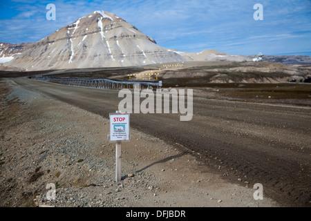 Polar bear warning sign at Ny-Ålesund, Spitsbergen, Svalbard Archipelago, Norwegian Arctic - Stock Photo