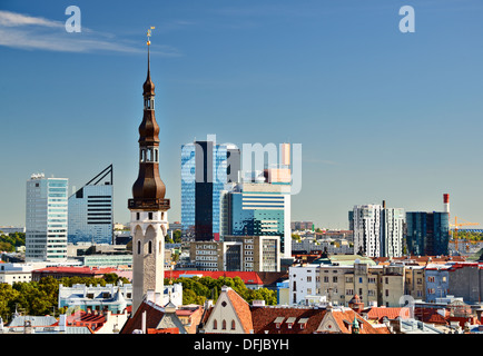 Skyline of Tallinn, Estonia with the old city and the new city. - Stock Photo