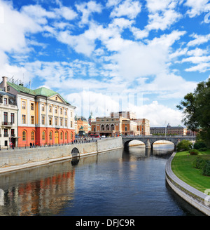 Stockholm, Sweden river cityscape. - Stock Photo