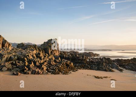 Dawn over Mossyard beach, Solway coast, Dumfries & Galloway, Scotland - Stock Photo