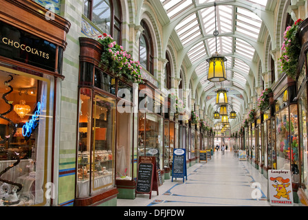 Norwich Royal Arcade that runs from the market place towards Norwich Castle and was designed by architect George - Stock Photo