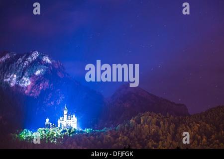 Neuschwanstein Castle at night in Fussen, Germany. - Stock Photo