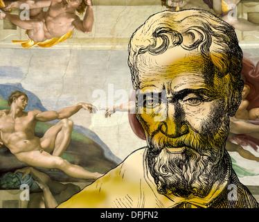 Creation of Adam, Michelangelo Buonarroti, 1475 - 1564, Italian painter, sculptor, architect and poet of the Renaissance - Stock Photo
