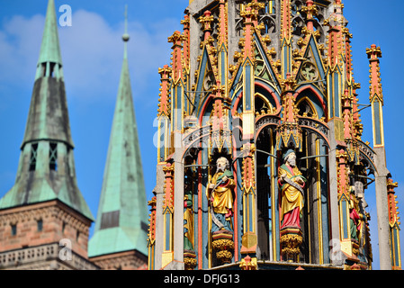 Detail of the Beautiful Fountain in Nuremberg, Germany. - Stock Photo
