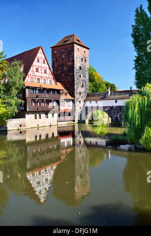 Executioner's bridge in Nuremberg, Germany - Stock Photo