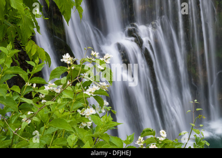 The magnificent waterfall in the center of Jajce, Bosnia and Herzegovina - Stock Photo
