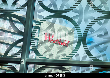Westfield Stratford City Shopping Centre - through the window of a restaurant. - Stock Photo