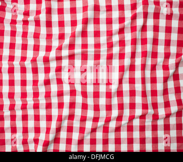red linen crumpled tablecloth - Stock Photo