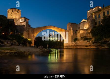 The Old Bridge in Mostar, Bosnia and Herzegovina - Stock Photo