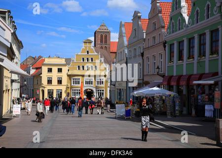 KRAEMERSTRASSE, Wismar, Baltic Sea, Mecklenburg West Pomerania, Germany - Stock Photo