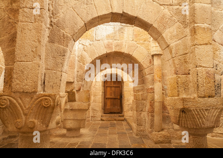 Crypt of the Monastery of Leire, Navarra, Spain - Stock Photo