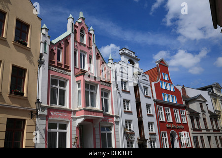 Wismar, Gable houses at Bohrstrasse, Baltic Sea, Mecklenburg West Pomerania, Germany - Stock Photo