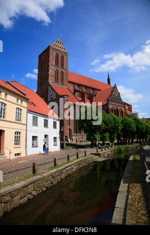 Wismar, St. Nikolai church at river Grube, Baltic Sea, Mecklenburg West Pomerania, Germany - Stock Photo