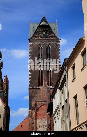 Wismar, Marienkirche, St. Marys Church, Baltic Sea, Mecklenburg West Pomerania, Germany - Stock Photo