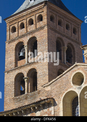 Romanesque Tower - Mudejar church of San Martín in Segovia - Castilla-León - Spain - Stock Photo