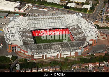 aerial view of Manchester United Old Trafford Stadium, Manchester taken October - Stock Photo