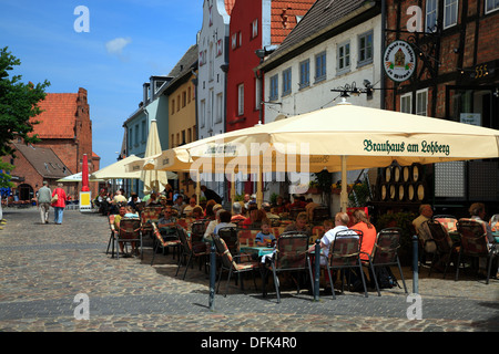Restaurants at LOHBERG near harbour, Wismar, Baltic Sea, Mecklenburg West  Pomerania, Germany - Stock Photo