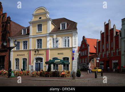 Hotel and rerstaurant at market square, hanseatic city of Wismar, Baltic Sea, Mecklenburg West Pomerania, Germany - Stock Photo