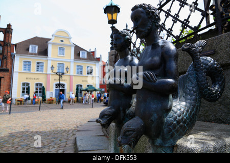 Wasserkunst at market square, hanseatic city of Wismar, Baltic Sea, Mecklenburg West Pomerania, Germany - Stock Photo