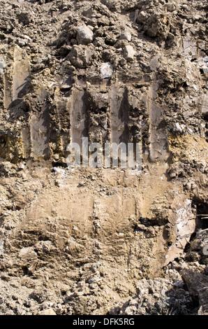 Excavator bucket traces on construction site - Stock Photo