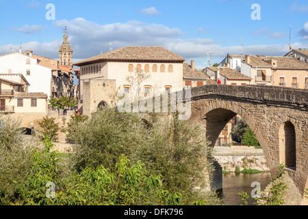Romanesque bridge in Puente la Reina, Navarra, Spain - Stock Photo