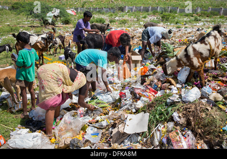 Poor Indian women and children collecting pickings from a rubbish tip. Andhra Pradesh, India - Stock Photo