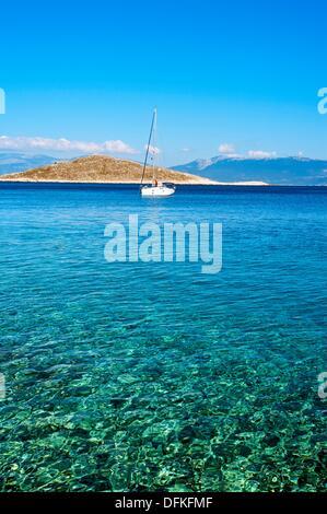 Chalki town, Halki, Dodecanese, Greek Islands, Greece, Europe - Stock Photo