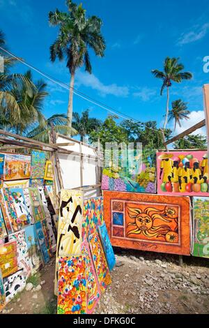 Naive paintings, Las Terrenas  Samana Peninsula  Dominican Republic  West Indies  Caribbean - Stock Photo