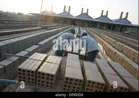 Brick factory, Kompong Cham. Cambodia - Stock Photo