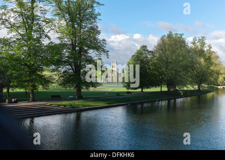 View from River Cam across Jesus Green to St John's College, Cambridge UK - Stock Photo