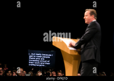 02/10/13 . Prime Minister David Cameron .The Prime Minister closes the Conservative Party Conference at Manchester - Stock Photo