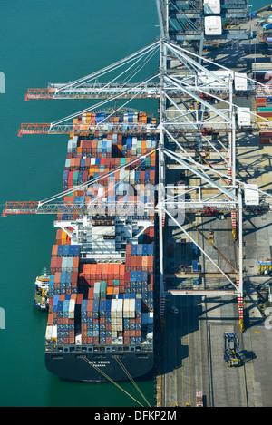 Aerial photograph of a Ship at Southampton Docks - Stock Photo