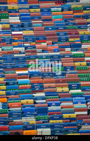 Aerial photograph of shipping containers at Southampton docks - Stock Photo