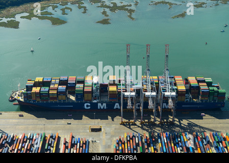 Aerial photograph of a Ship at Southampton Docks - Stock Photo