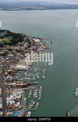 Aerial photograph of Cowes Harbour - Stock Photo