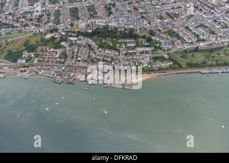Aerial photograph of Leigh-On-Sea sea front - Stock Photo