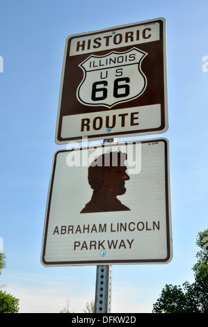 Historic Route 66 highway route sign travels through the state of Illinois - Stock Photo